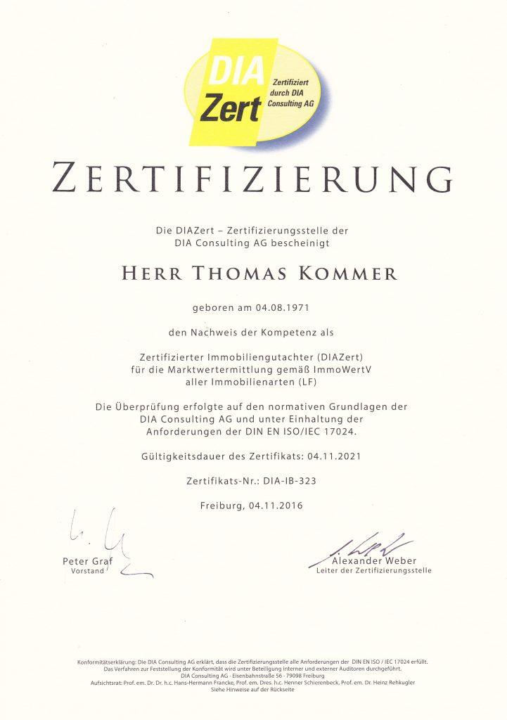 Zertifizierungsurkunde